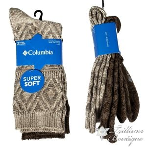 Columbia Womens Crew Socks 2 Pairs Khaki/Brown NWT